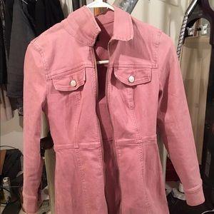 BDG salmon/ pink denim LONG jacket